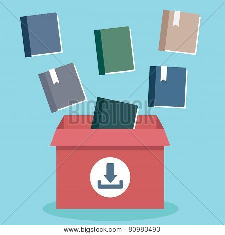 Vector Flat Illustration Of Process Download Books To A Server. Electronic Subscription