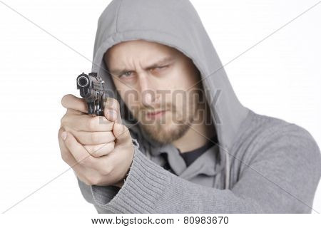 Young Guy With Gun Pointed in in white background