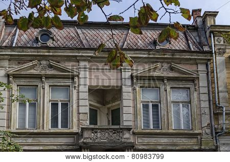 Old building facade with ornament in Ruse town