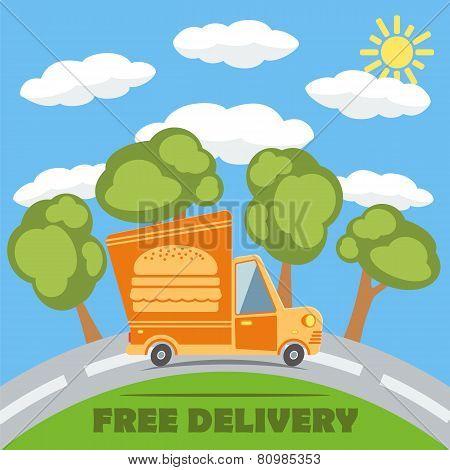 Free Delivery Van Truck With Hamburger Vinyl Logo. Vector.