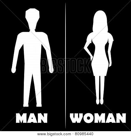Man And Woman  Restroom Symbol Icon. Vector Illustration