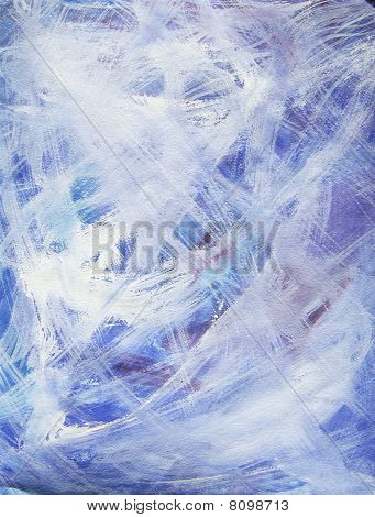 Happy Abstract Acrylic Art Painting In Blue, White, Purple, Red