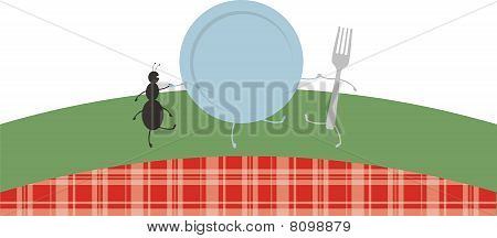 Dancing Picnic Ant Plate Fork Outdoor Eating