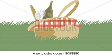 Gourmet Picnic Basket In Grass Wine Bottle Glasses