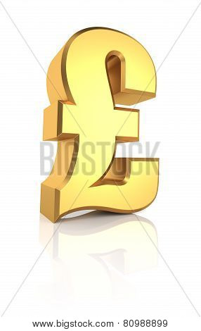 3D Gold Pound Sign