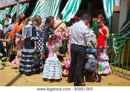 Spanish people at the Seville Fair.