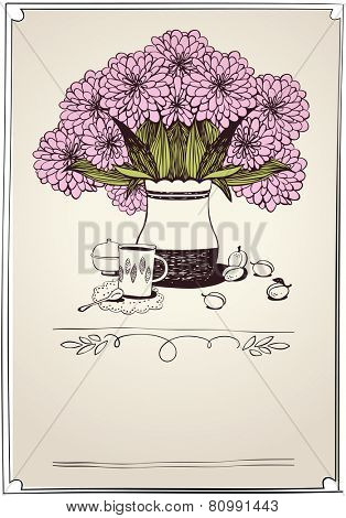 retro card with tea, apricot and bouquet of chrysanthemums. eps10