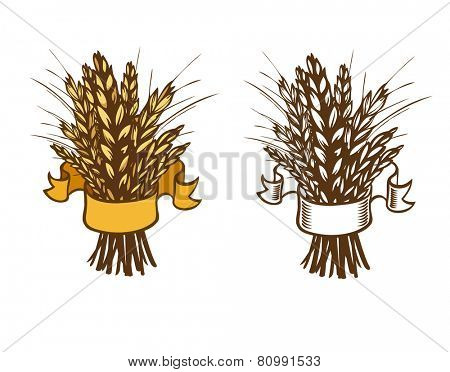sheaf of wheat or rye on white. Eps 8
