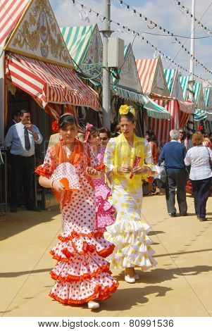 Spanish girls at the Seville Fair.