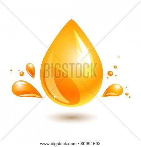 orange drop of oil on white. jpg include isolated path. eps10