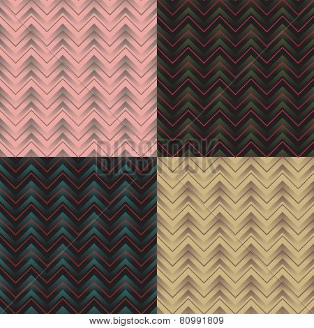 set of geometric seamless pattern with zigzag. eps8
