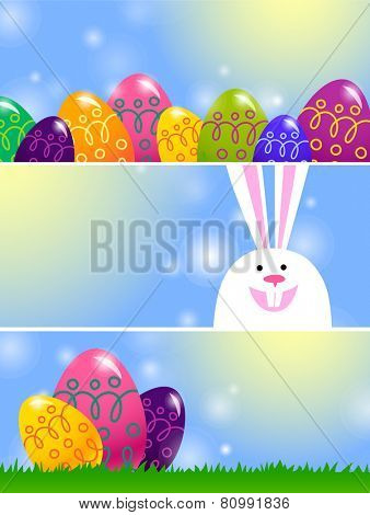 set of Easter banners with bunny and Easter egg. eps10