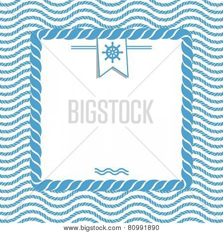blue and white marine background with wave rope and steering wheel