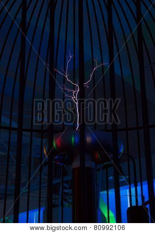 Resonant Transformer In Work. Tesla Coil.