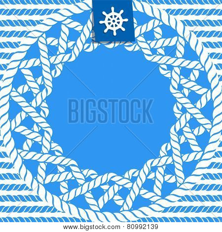 blue and white marine background with ropes and steering wheel
