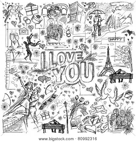 Vector sketch background with love story elements, dancing couple, flowers, rings, cinema and dates