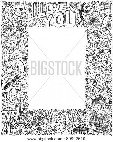 Vector sketch frame background with love story elements, dancing couple, flowers, rings, cinema and dates