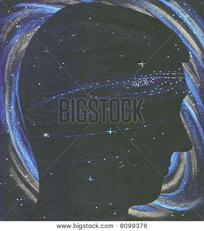 Universe Person Silhouette In Space