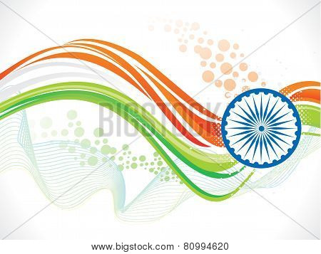 Abstract Artistic Indian Flag Wave Background