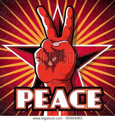 Retro Peace Hand Poster.
