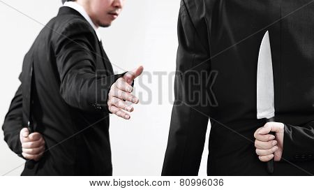 Two Competitive Business Men With Knives.
