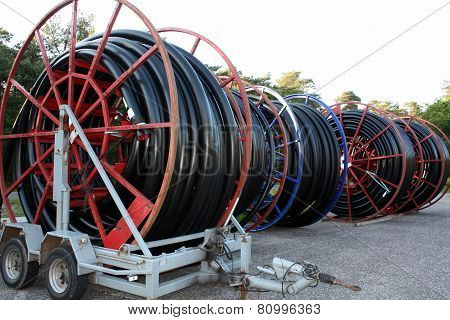 Red cable drums