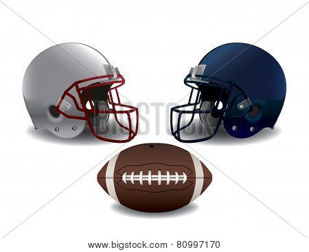 American Football Helmets And Ball Isolated Illustration