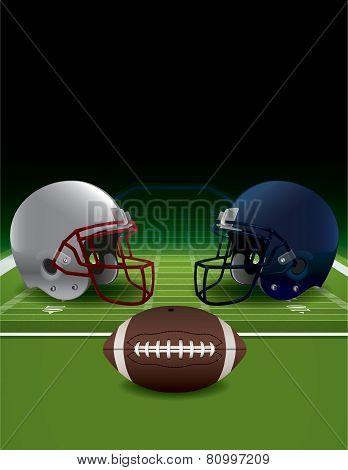 American Football Helmets, Ball, And Turf Field