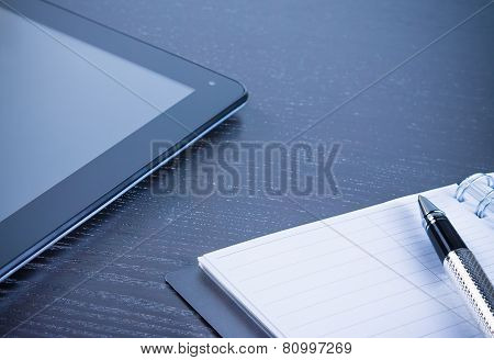 Digital Tablet Pc Near Notes In The Office, Concept Of New Technology
