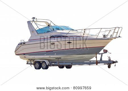 Boat On A Trailer Isolated On White Background