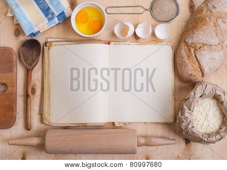 Baking Background With Blank Cook Book, Eggshell, Flour, Rolling Pin