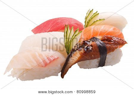 Traditional Sushi Sashimi On White Background