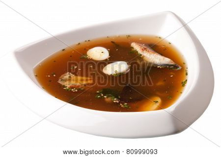 Japanese Cuisine - Miso Soup With Seaweed, Mushrooms, Tofu, Eel, Salmon And Noodles