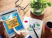 stock photo of thinking outside box  - Think Outside The Box Idea Innovation Man Concept - JPG