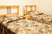 foto of motel  - bed in motel room  - JPG