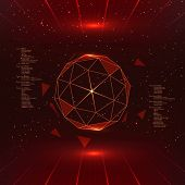 image of futuristic  - Futuristic interface with vector sphere with triangles - JPG