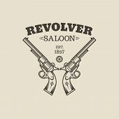 image of revolver  - Vector logo engraving western revolvers - JPG
