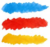 stock photo of dab  - Set of colorful strokes of watercolor paint brush isolated on white - JPG