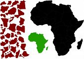 picture of continent  - Political Map of Africa vector with various outlines options  - JPG