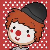 foto of clown face  - Image of a close up clowns face on a polka dot background - JPG
