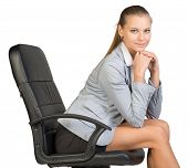 stock photo of recliner  - Businesswoman on office chair - JPG