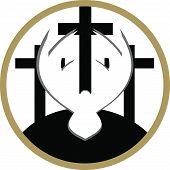 pic of crucifixion  - A vector illustration of three crosses on a white and gold circle background - JPG