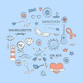 picture of peace-pipe  - Vector illustration of sea doodle hipster set over light blue - JPG
