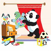 pic of panda  - cartoon panda bear in playing room with toys  - JPG