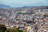 stock photo of urbanisation  - View on the center of Malaga Andalusia Spain from the fortress Gibralfaro - JPG