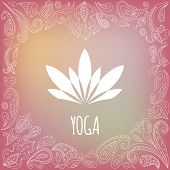 foto of yoga silhouette  - Yoga logo with heart frame and white lotus silhouette - JPG
