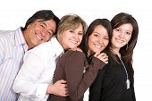picture of family fun  - family fun portrait over white - JPG