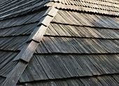 picture of shingles  - Old wooden shingle roof with rich texture - JPG