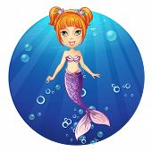 foto of mermaid  - vector Illustration of a cheerful girl mermaid - JPG