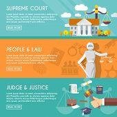 stock photo of justice law  - Supreme court judge and blindfolded justice with sword and scales people law flat horizontal banners vector illustration - JPG